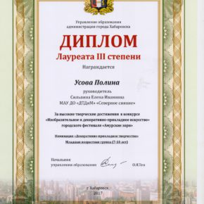 Лауреат 3 степени Усова Сильвина